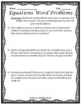 Two-Step Equations Word Problems