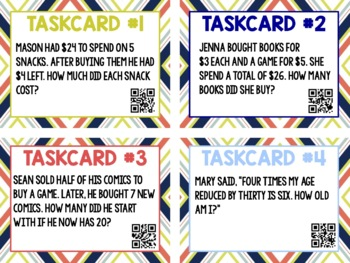 Two-Step Equations Word Problems Task Cards QR Codes