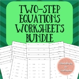 Two-Step Equations Worksheets Levels A-D Bundle