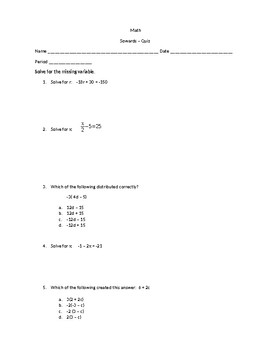 Two Step Equations and Distributing Quiz
