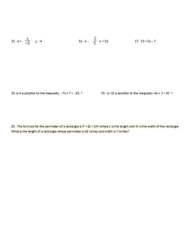 Two Step Equations and Inequalities Quiz