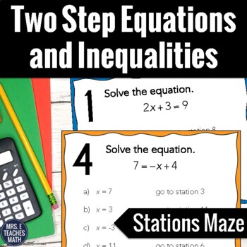 Two Step Equations and Inequalities Stations Maze