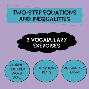 Two Step Equations and Inequalities Vocabulary Activities