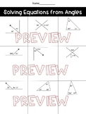 Two Step Equations with Angle Relationships Worksheet, Homework or Quiz