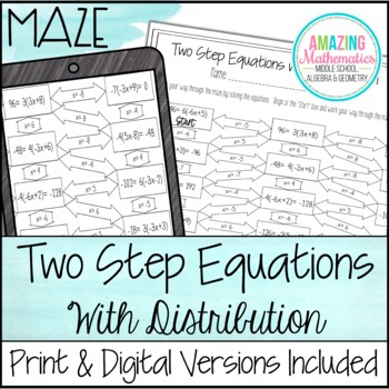 Two Step Equations with Distribution Maze by Amazing Mathematics
