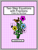Two Step Equations with Fractions Color by Number