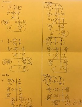 Two Step Equations with Fractions Foldable
