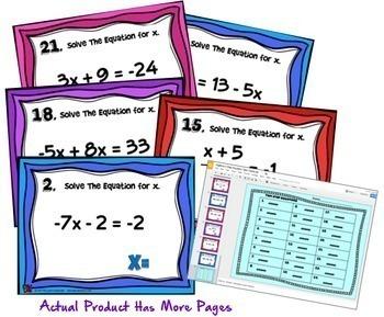 Two Step Equations Digital Task Cards with GOOGLE Slides