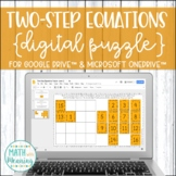 Two-Step Equations (with Integers) DIGITAL Puzzle Google Drive Distance Learning
