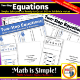 Two-Step Equations with Integers, Decimals & Fractions - Foldable Notes