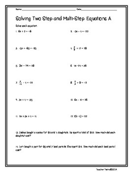 Two- Step Equations with Multi -Step Equations Differentiated Practice Sheets