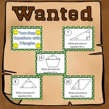 Two-Step Equations with Triangles Task Cards