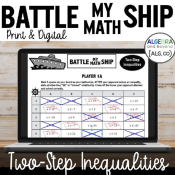 Two-Step Inequalities Activity - Battle My Math Ship Game