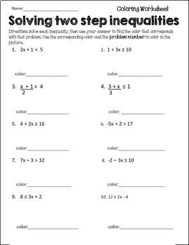 Two-Step Inequalities Activity {Inequalities Review Coloring Worksheet}