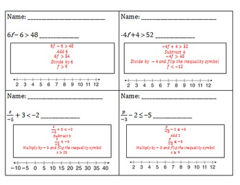 Two Step Inequalities Exit Slip
