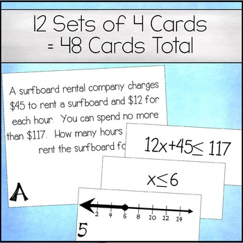 Two Step Inequalities on a Number Line Matching Cards