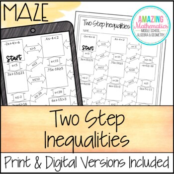 Two Step Inequalities Maze