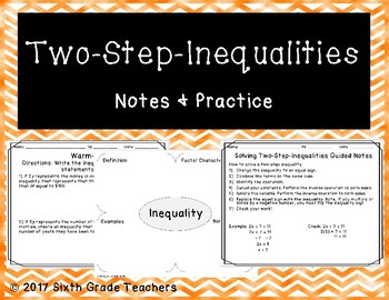 Two-Step-Inequalities Notes and Practice Resources