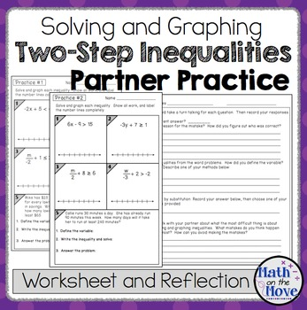 Inequalities (Two Step) - Partner Practice + Reflection Worksheet