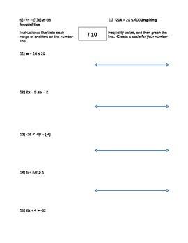 Two Step Inequalities Quiz
