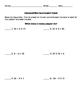 Two-Step Inequalities Scavenger Hunt