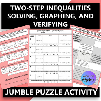 Two-Step Inequalities:  Solving, Graphing, & Verifying $100,000 Pyramid Game