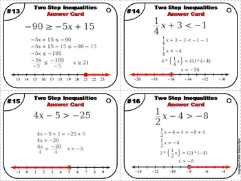 Solving Two Step Inequalities Task Cards 5 to 9th Grade
