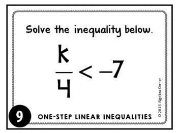 One-Step Inequalities Task Cards