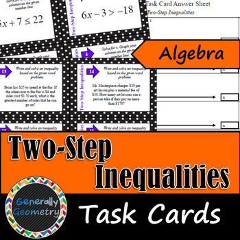 Two-Step Inequalities Task Cards; Algebra 1