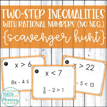 Two-Step Inequalities With Rational Numbers (No Negatives) Scavenger Hunt