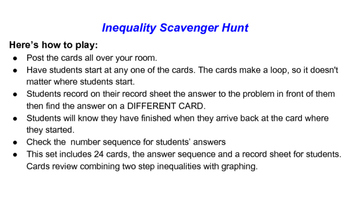 Two Step Inequality Scavenger Hunt