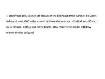 Two Step Inequality with Word Problems