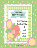 Two-Step Math Story Problems Addition and Subtraction with more than 2 digits