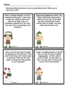Two-Step Multiplication Word Problems With Elves!