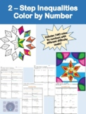 Two Step Solving Inequalities Color by Number with 2 Worksheets
