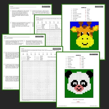 2 Step Word Problem, Second Grade Word Problems Mystery Pictures Activity