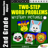 Two Step Word Problem, 2nd Grade Math Challenge Packet Mystery Pictures