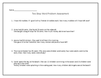 Two-Step Word Problem Assessment