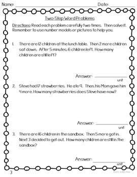 Two Step Word Problem FREEBIE!