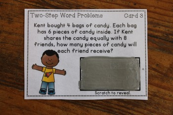 Two-Step Word Problem Game {Scratch Off Cards}