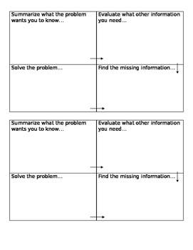 Two Step Word Problem Graphic Organizer 3.OA.8