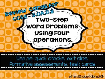 Two Step Word Problem Review Cards - All Operations