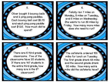 Two Step Word Problem Task Cards 3.OA.8