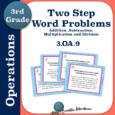 3.OA.9 Two Step Word Problem Task Cards