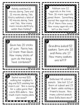 Two Step Word Problems Task Cards, QR Codes, Numbers Up To 99
