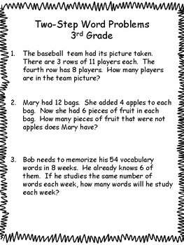 Two-Step Word Problems : 3rd Grade