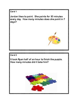 Two-Step Word Problems - 3rd Grade- Task Cards
