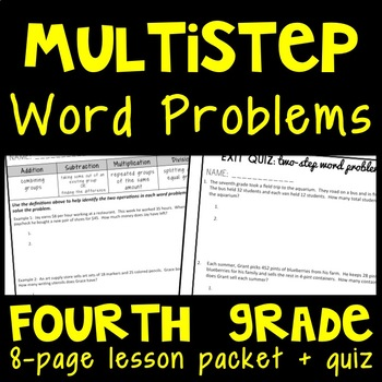 Two-Step Word Problems, 4th Grade Lesson Packet, Multi-Step Story Problems