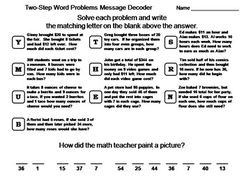 Two-Step Word Problems Activity: Math Message Decoder