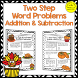 Two Step Word Problems Addition & Subtraction Worksheets: Fall Math